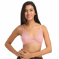 Lace Non-Padded Wirefree Bridal Bra With Demi Cup - Pink