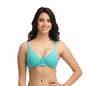 Cotton Padded Non-Wired Full Cup T-Shirt Bra with Detachable Straps - Aqua