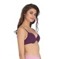 Cotton Padded Underwired Demi Cup T-Shirt Bra - Purple