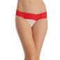 Contrast Lacy Waist Thong - Red