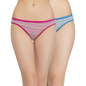 Set of 2 Multi-coloured Cotton Mid Waist Bikinis