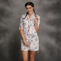 Cotton Floral Button-Up Sleepshirt with Contrasting Placket Piping - White