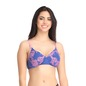 Cotton Floral Print Padded Non-Wired T-Shirt Bra with Detachable Straps