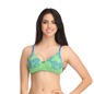 Cotton Floral Print Padded Non-Wired T-Shirt Bra with Detachable Straps - Green