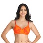 Cotton Floral Print Padded Non-Wired T-Shirt Bra with Detachable Straps - Orange