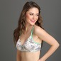 Cotton Floral Printed Non-Wired Padded Bra with Detachable Straps - White