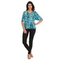 Cotton Full Length Black Pyjama & Printed Bell Sleeve Blue Top