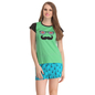 Cotton Graphic T-shirt & Printed Shorts In Sea Green & Blue