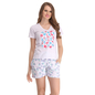 Cotton Graphic T-shirt & Printed Shorts In White & Blue
