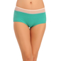 Cotton High Waist Hipster With Contrast Waist Band - Green