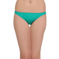 Cotton Low Waist Bikini With Contrast Overlock Design - Green