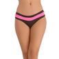 Cotton Spandex Bikini In Dark Brown With Contrast Powernet Waist