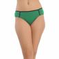 Cotton Spandex Bikini In Green With Mid Waist Coverage