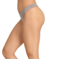 Cotton Spandex Thong In Grey With Contrast Trimmed Elastic
