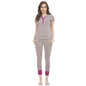 Cotton Spandex Top & Pyjama Set In Dark Grey
