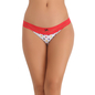 Cotton Melange Bikini In Red With Lacy Waist