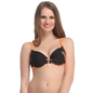 Cotton Melange Push Up Bra In Black With Detachable Straps