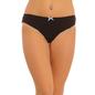 Cotton Mid Waist Bikini With Contrast Elastic Band - Black