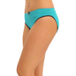 Cotton Mid Waist Bikini With Contrast Elastic Band - Blue