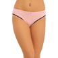 Cotton Mid Waist Bikini With Contrast Elastic Band - Pink