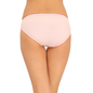 Cotton Mid Waist Bikini With Contrast Elastic Trim - Pink