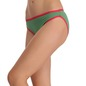 Cotton Mid Waist Bikini With Contrast Elastic Trims - Green
