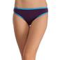 Cotton Mid Waist Bikini With Contrast Elastic Trims - Purple