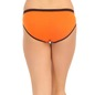 Cotton Mid Waist Bikini With Contrast Elastic Waistband - Orange