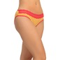 Cotton Mid Waist Bikini With Contrast Lace At Waist - Yellow