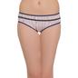 Cotton Mid Waist Bikini With Front Lace Trim - Blue