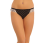 Cotton Mid Waist Bikini With Lace Wings - Black