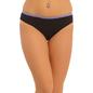 Cotton Mid Waist Bikini With Lace Trims - Black