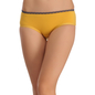Cotton Mid Waist Bikini With Lace Trims - Yellow