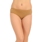 Cotton Mid Waist Bikini With Lace Wings - Brown