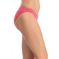 Cotton Mid Waist Bikini With Scallop Lace - Pink