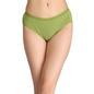 Cotton Mid-Waist Bikini with Shiny Elastic Band - Green