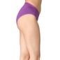 Cotton Mid-Waist Bikini with Shiny Elastic Band - Purple