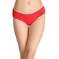 Cotton Mid-Waist Hipster with Contrast Elastic Band - Red