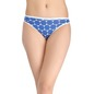 Cotton Mid Waist Printed Bikini with Contrast Elastic Band - Blue