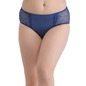 Cotton Mid-Waist Polka Print Bikini with Lacy Side Wings - Blue