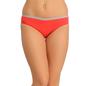 Cotton Mid Waisted Bikini With Contrast Elastic - Orange