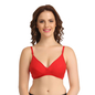 Cotton Non-Padded Wirefree Bra With Double Layered Demi Cups - Red