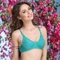 Cotton Non-Padded Non-Wired Bra In Green With Full Cups