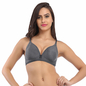 Cotton Non-Padded Wirefree Bra In Grey With Demi Cups