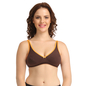 Cotton Non-Padded Wirefree Demi Cup Bra - Brown
