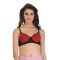 Cotton Polka Print Demi Cup Push Up Wirefree Bra With Powernet Band - Red