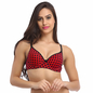Cotton Push Up Non-Wired Bra In Red With Demi Cups