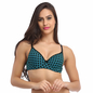 Cotton Push Up Non-Wired Bra In Blue With Demi Cups