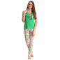 Cotton Racer Back T-shirt & Pyjamas In Green & Yellow