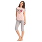 Cotton Round Neck Graphic Top & Grey Capri